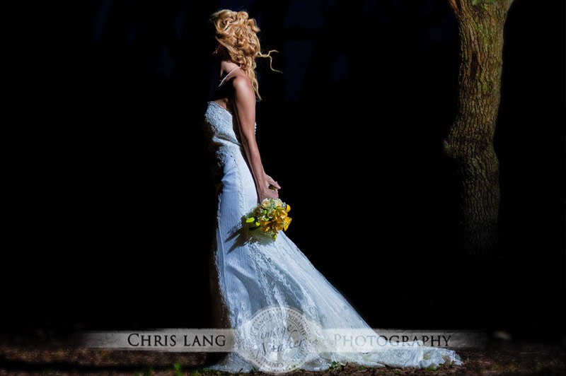 e of Bride in her wedding dress at Fort Fisher