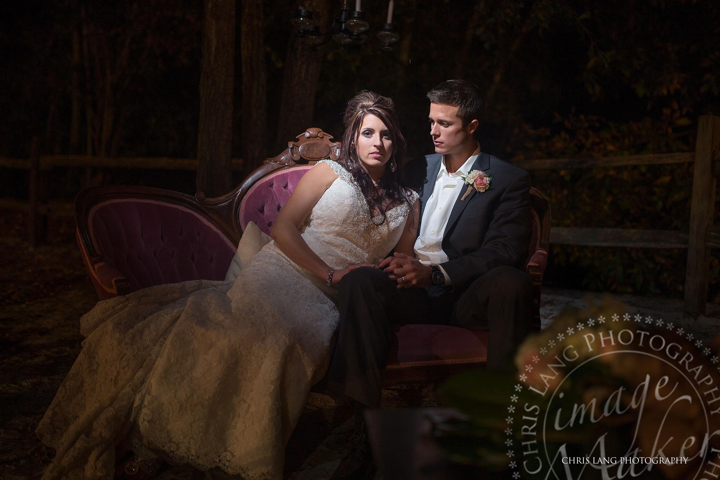 Romantic Nigh Ttime Wedding Picture Of Bride Groom Sitting