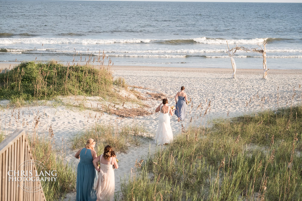 Bridesmaids Bride Wedding Dress Atlantic Ocean Wrightsville Beach North Carolina